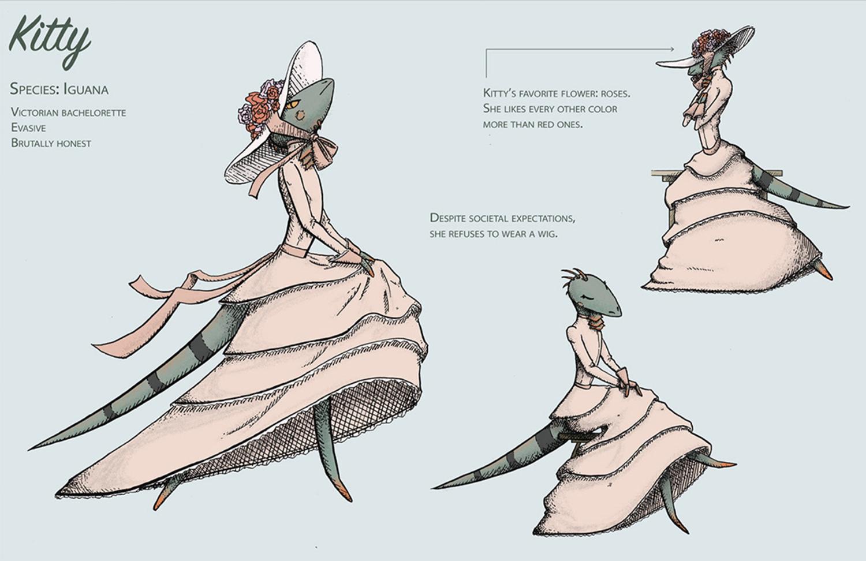 An illustration of a lizard wearing a dress.