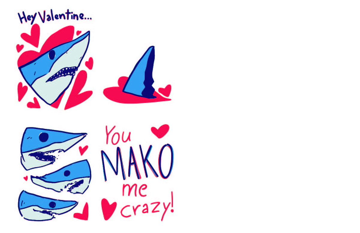 A Valentine's Day incorporating a shark and hearts.
