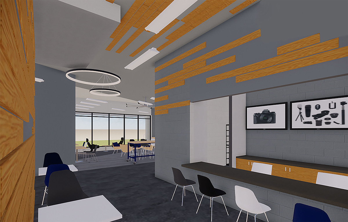 A rendering of the photo cage and part of a new student lounge.