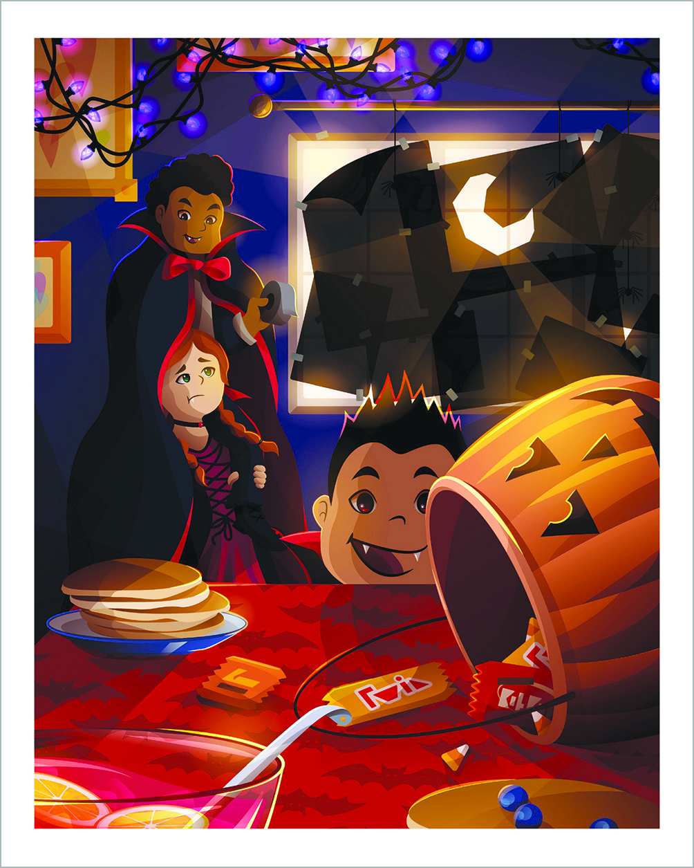 An illustration of kids in costumes around Halloween candy.