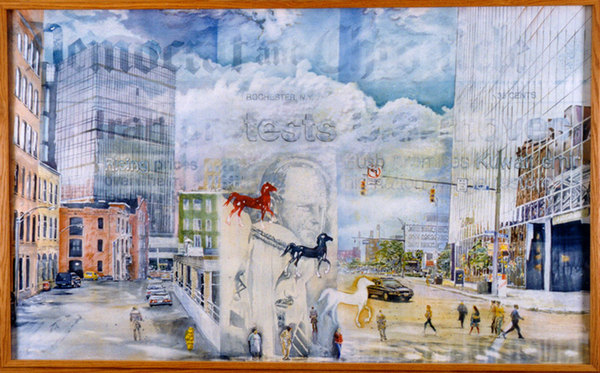 A Luvon Sheppard watercolor painting of downtown Rochester.