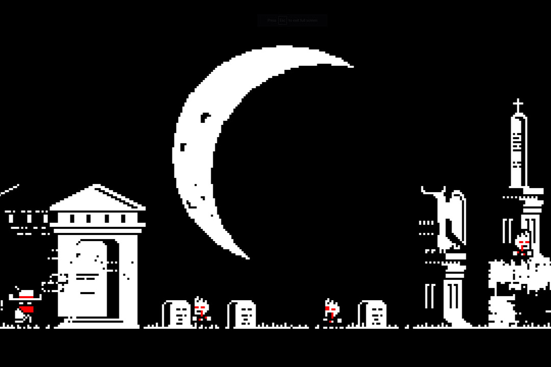 screesnhot of black, white, and red video game with characters in a cemetery.