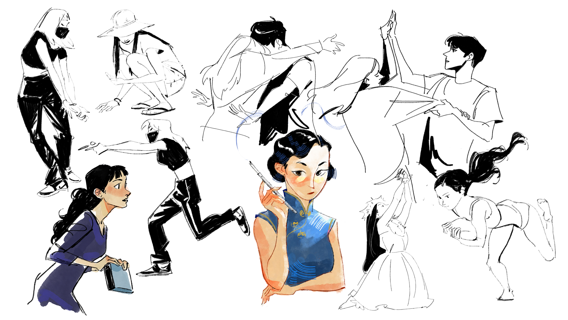 A series of character sketches.