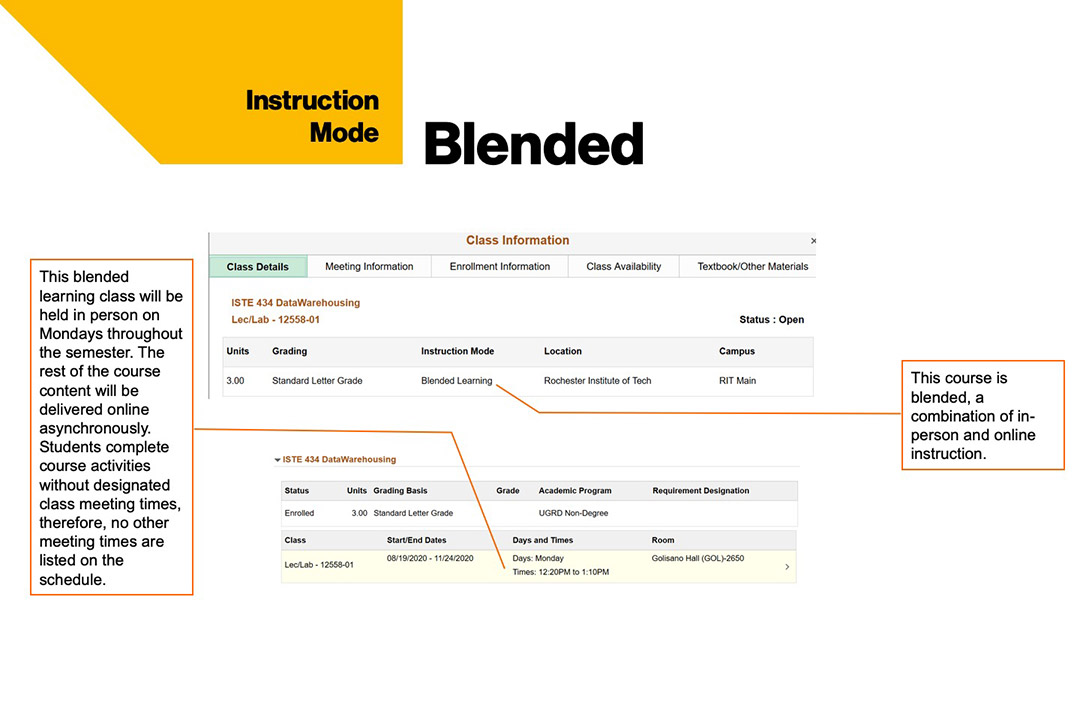 sample course schedule that shows blended instruction mode at RIT.