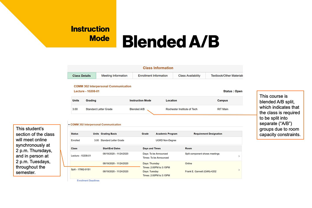 sample course schedule that shows blended A/B instruction mode at RIT.