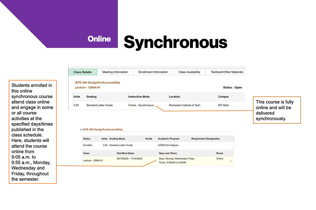 sample course schedule that shows synchronous instruction mode at RIT.