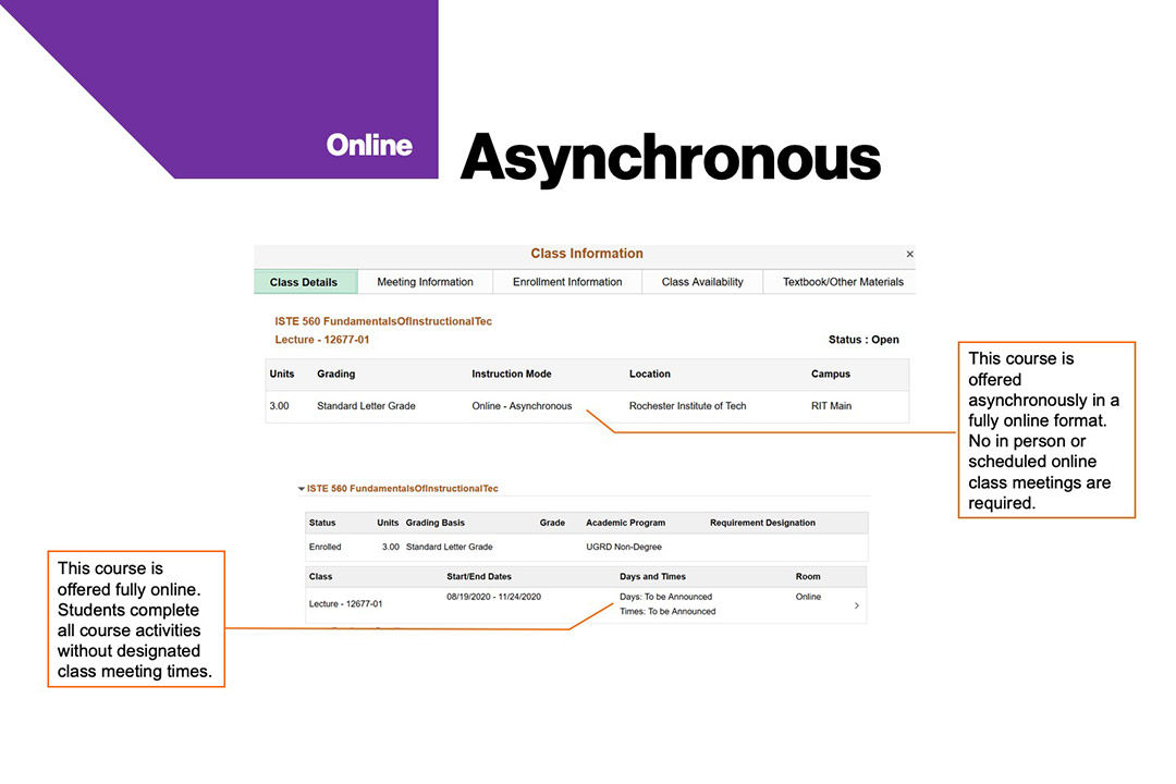sample course schedule that shows asynchronous instruction mode at RIT.