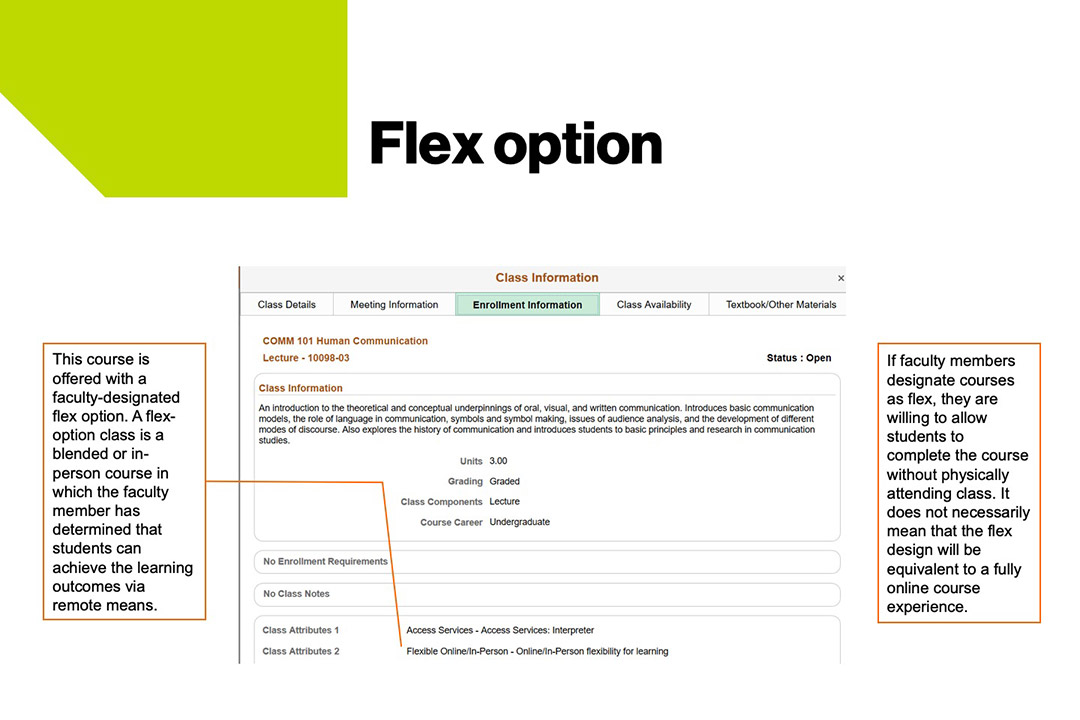 sample course schedule that shows flex options at RIT..