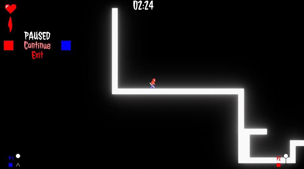 Screenshot of video game with black screen and white path.