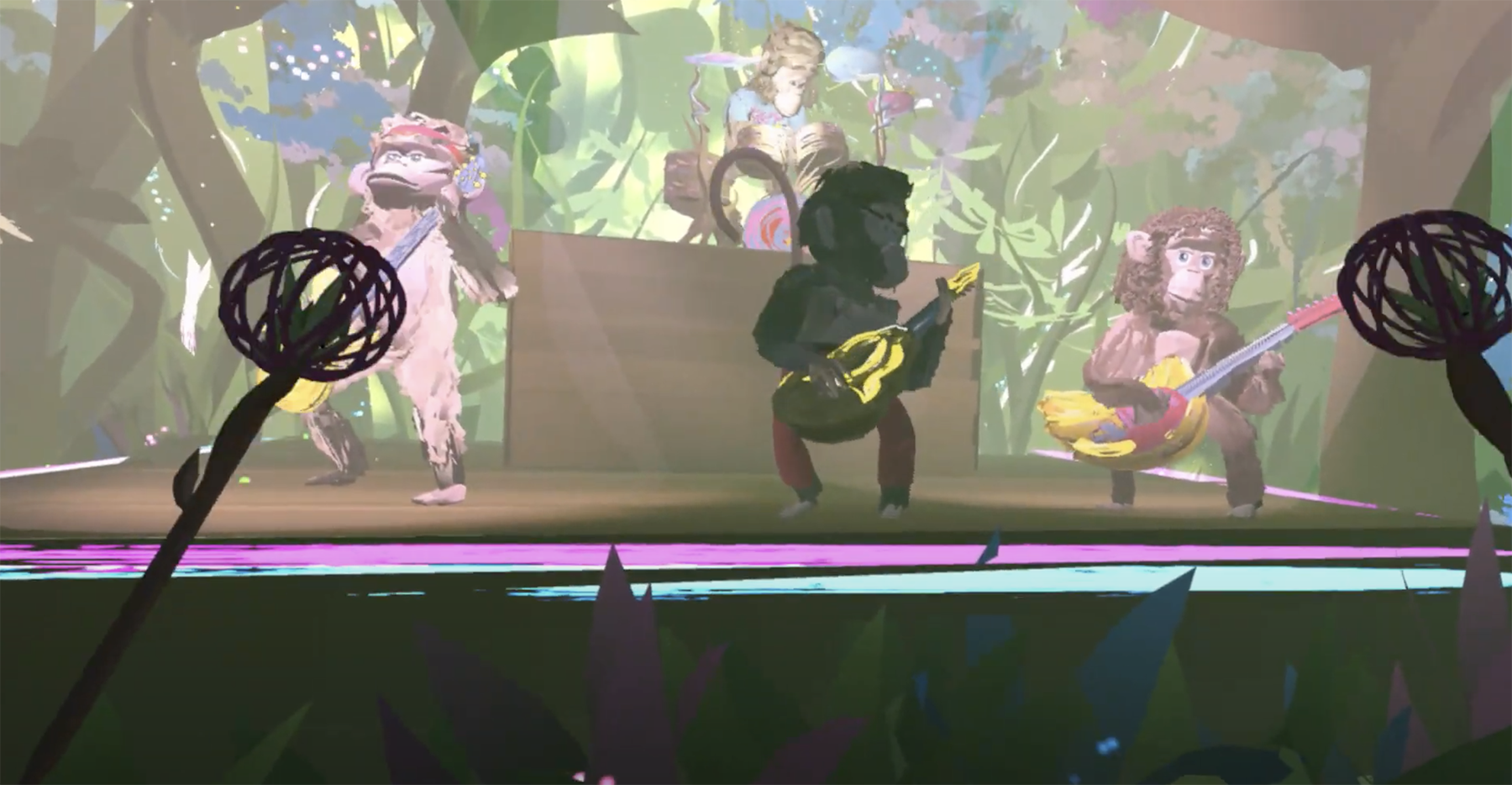 A VR scene with musicians as monkeys.