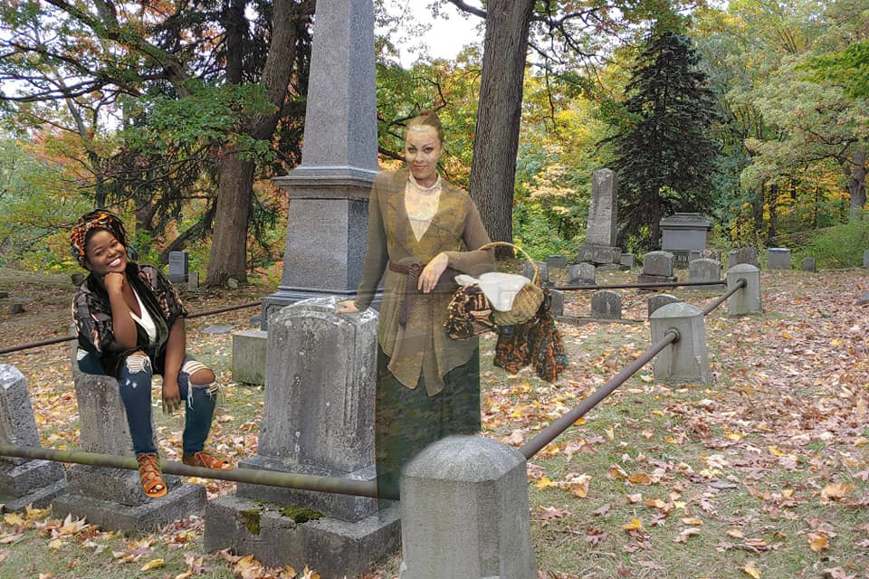 two people appearing in a cemetery via green screen special effects.