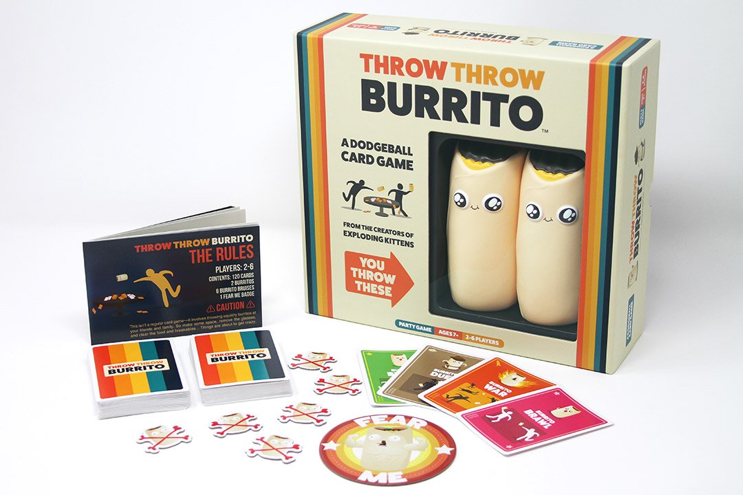 box and pieces to the game Throw Throw Burrito.