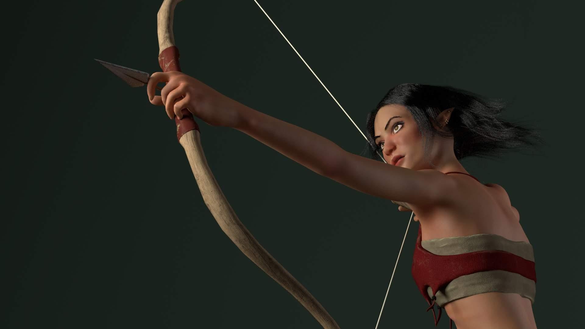 A design of a character shooting an arrow.