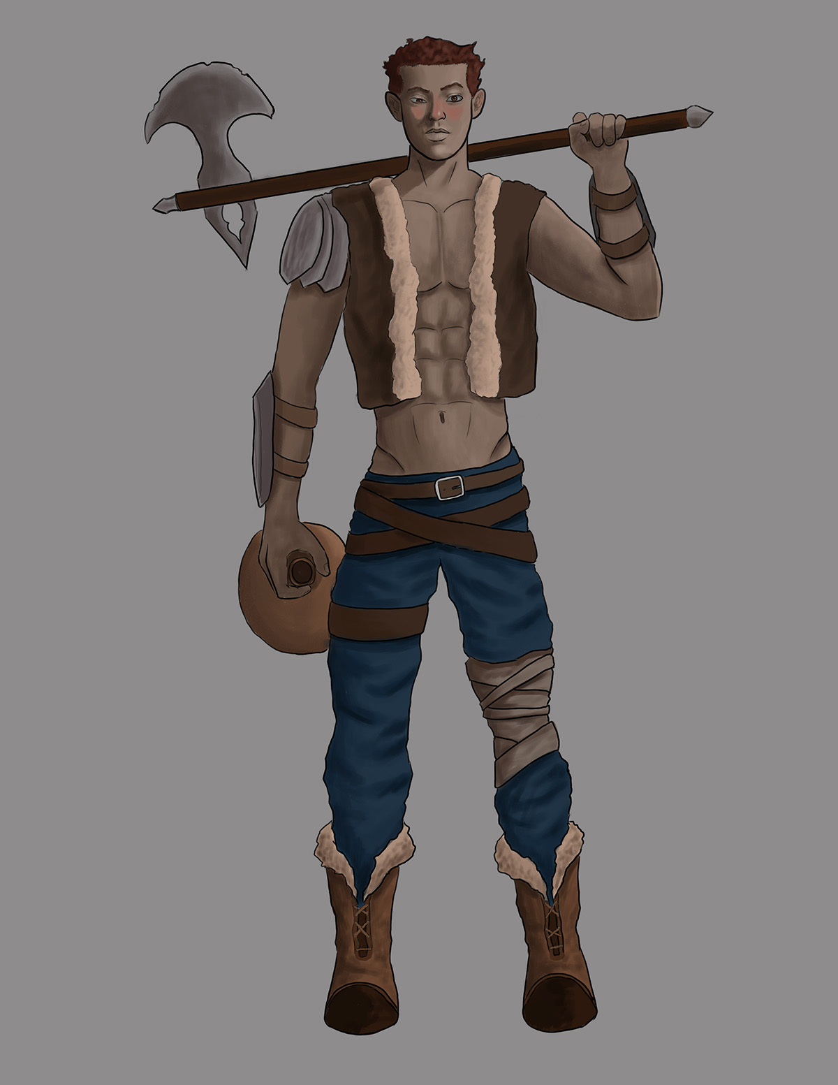 A character design of a man holding and axe and wearing no shirt, jeans and boots.