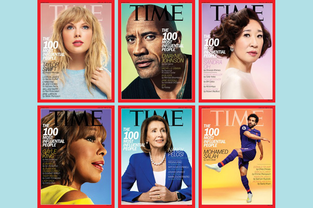 Collage of TIME magazine covers.