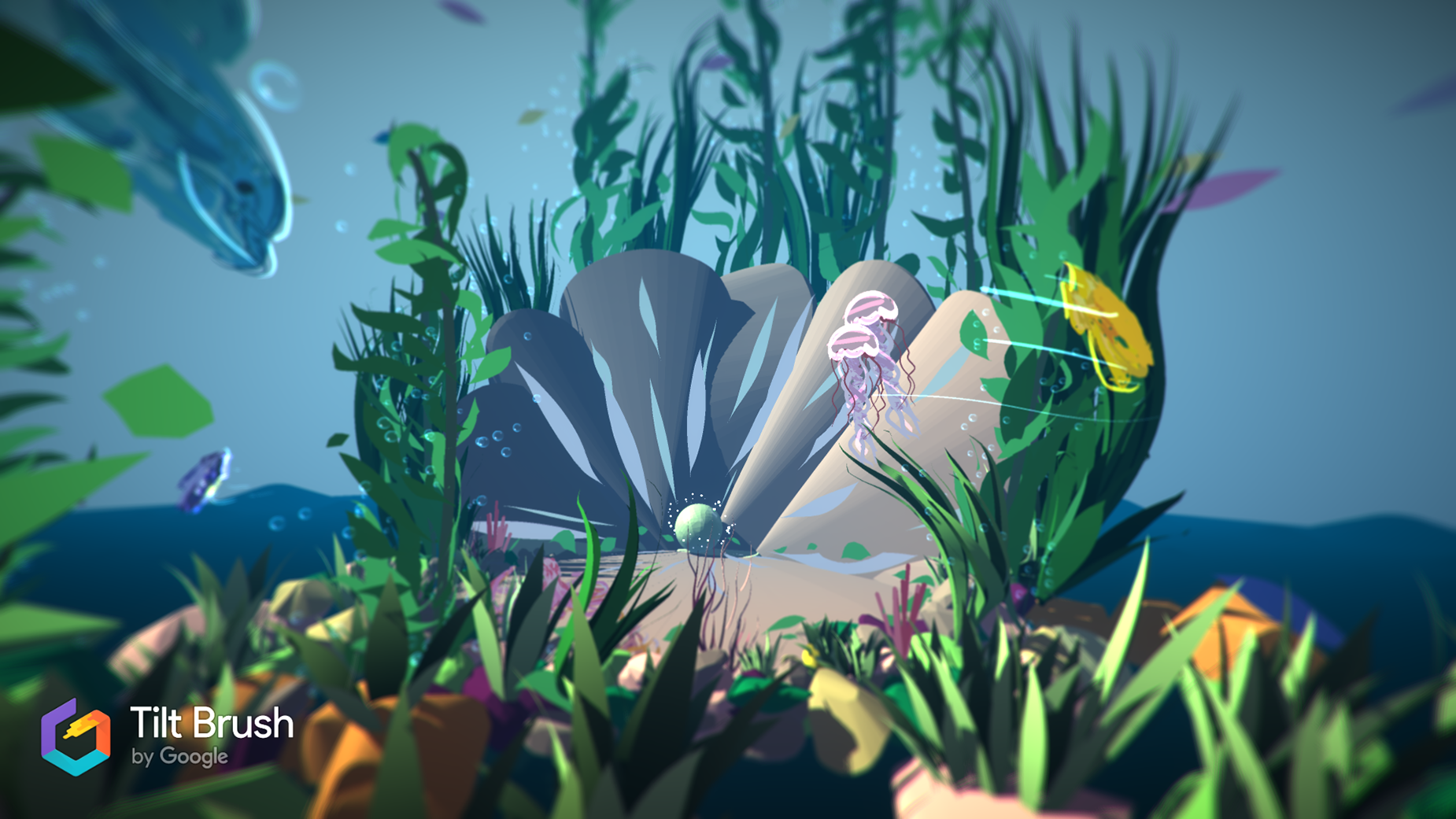 A detailed underwater VR scene, with plants, dolphins and jellyfish.