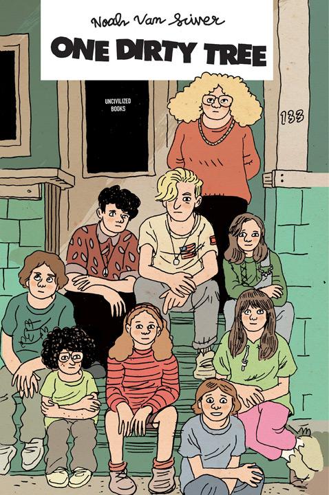 Comic book illustration of students sitting on doorsteps