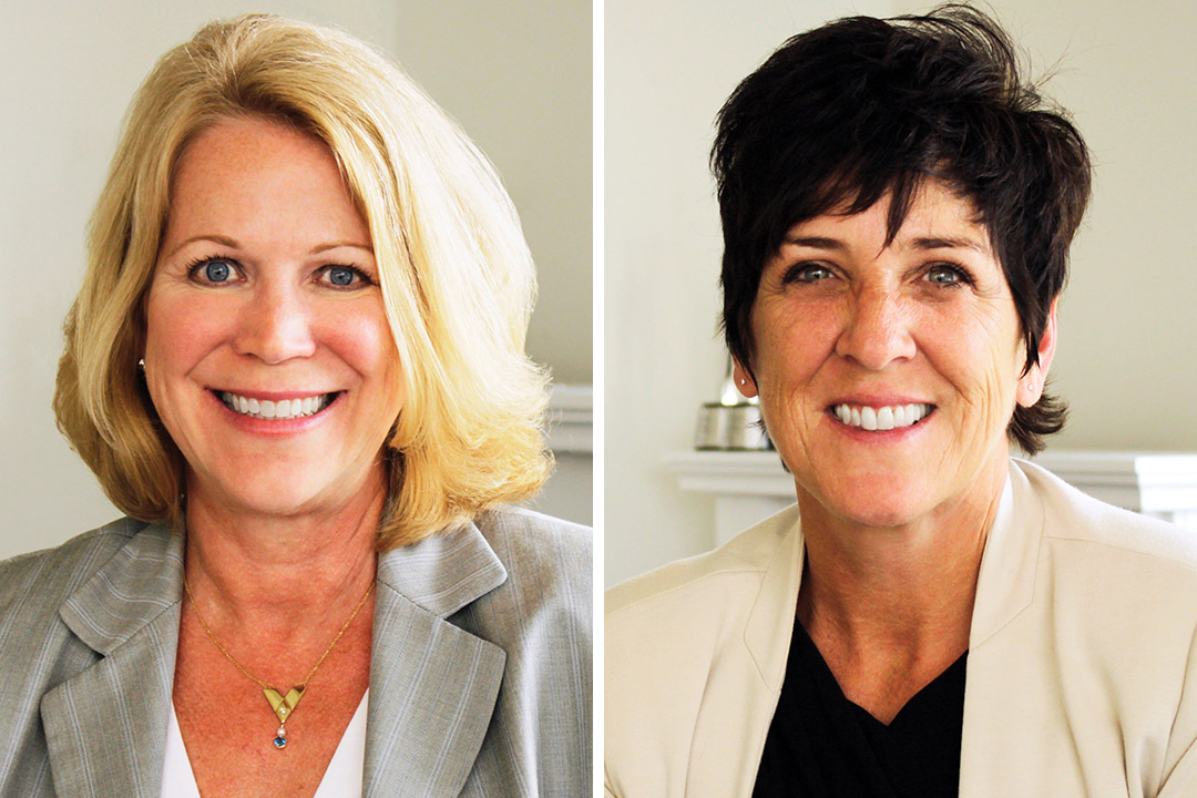 side-by-side portraits of businesswomen Sue Butler and Tracy Till.