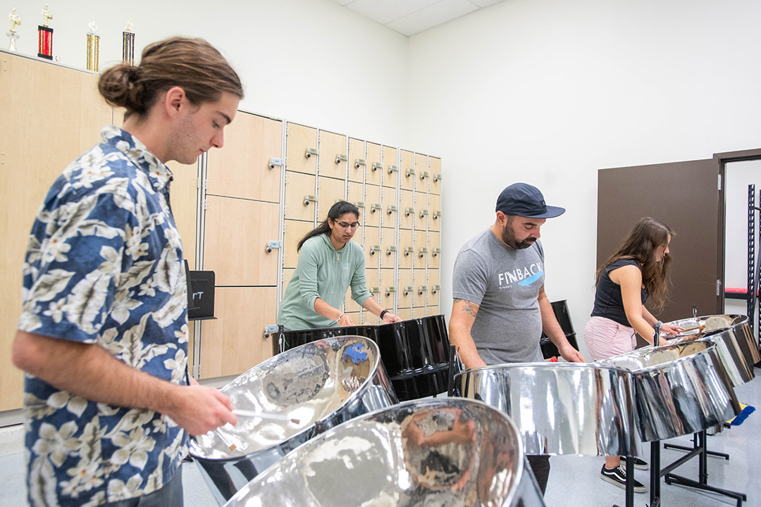 students playing steel drums.