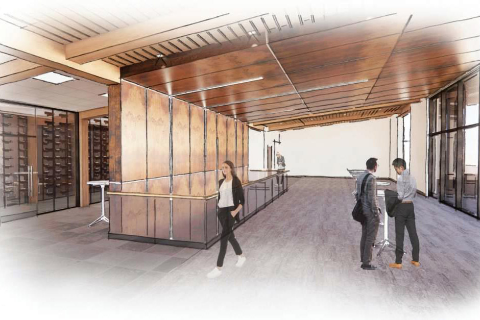 artist rendering of reception gallery and wine room.