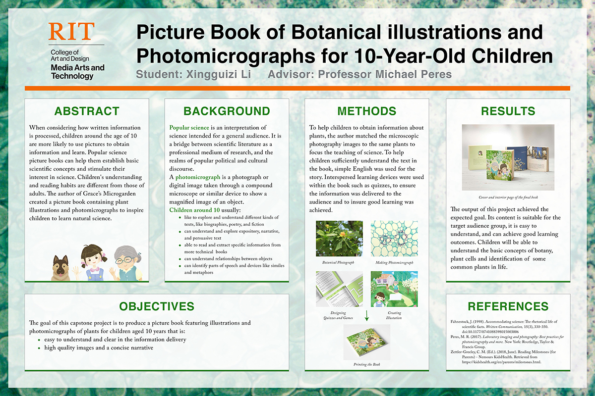 A poster outlining botanical illustrations for 10 year olds.