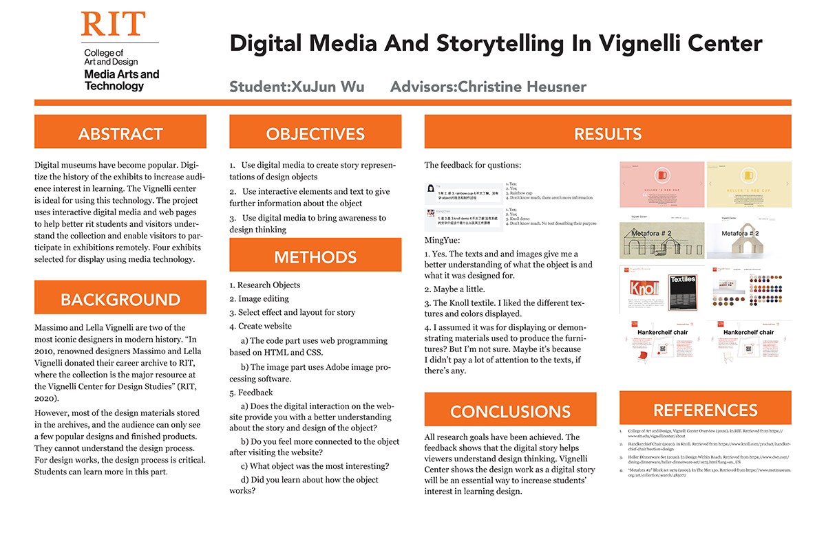 A poster for implementing a digital media strategy for the Vignelli Center at RIT.