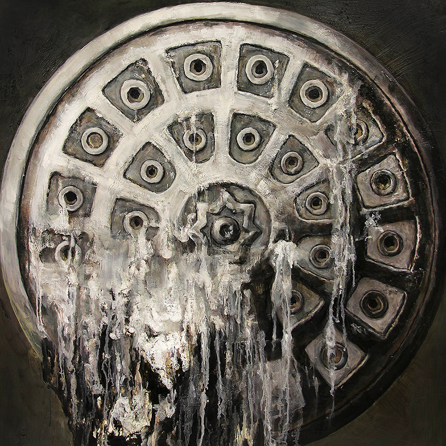 A painting of water breaking through a sewer cover.