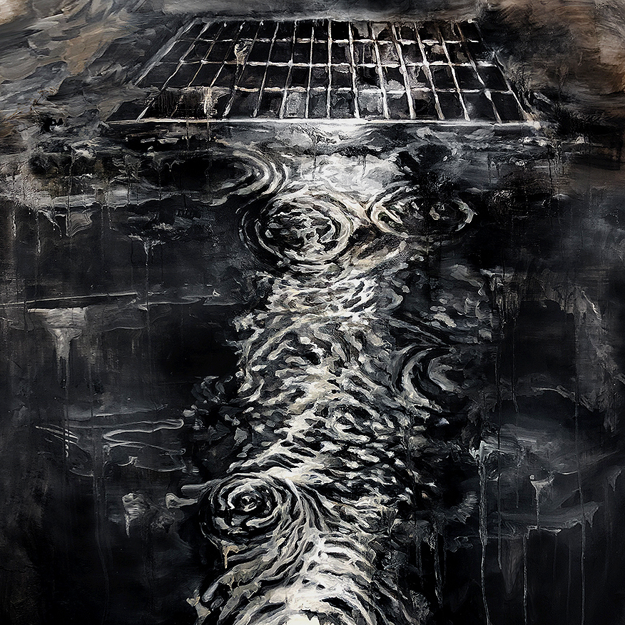 A painting of water on the ground near a sewer.