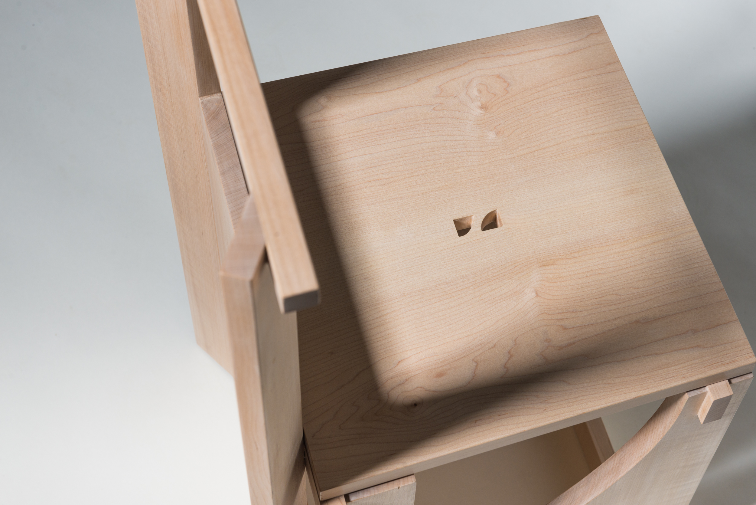 A detail shot of a chair design