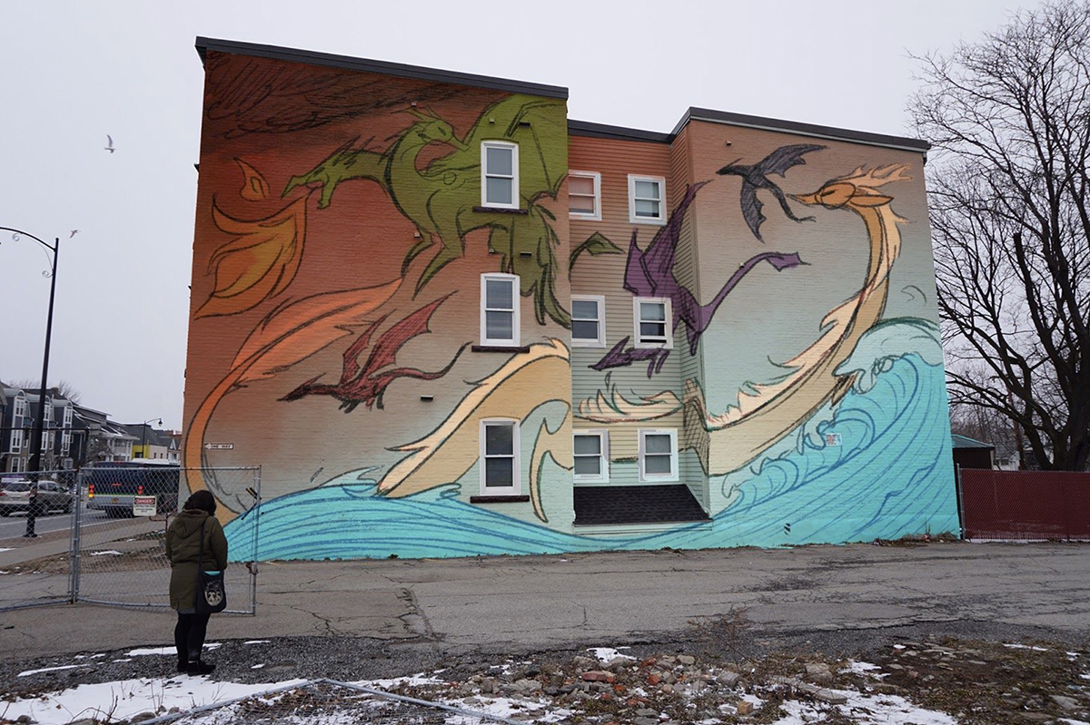 A mural concept with dragons on it.