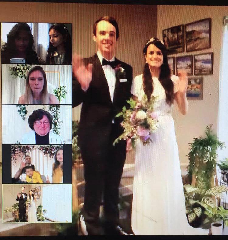 screenshot of people viewing wedding on Zoom.