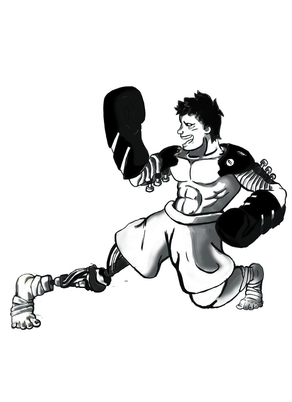 Character design of a man with big boxing gloves.