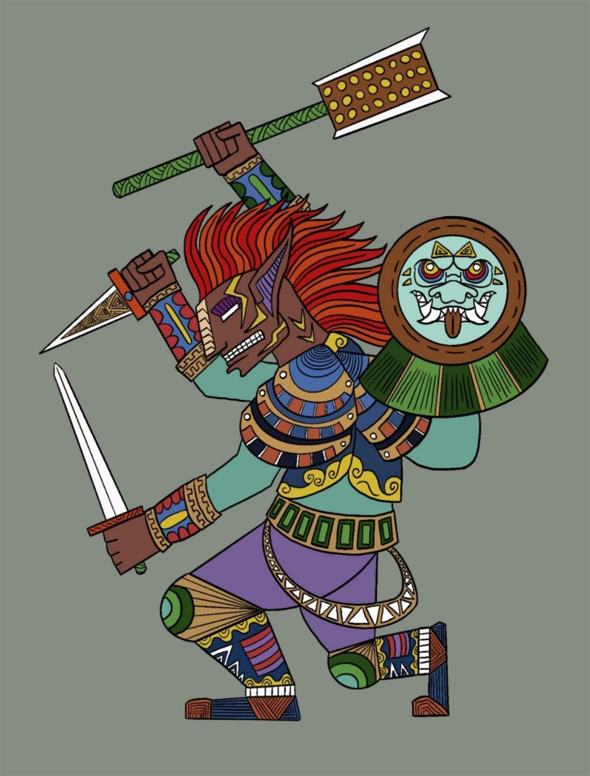 An illustration of a three-armed warrior wielding weapons.