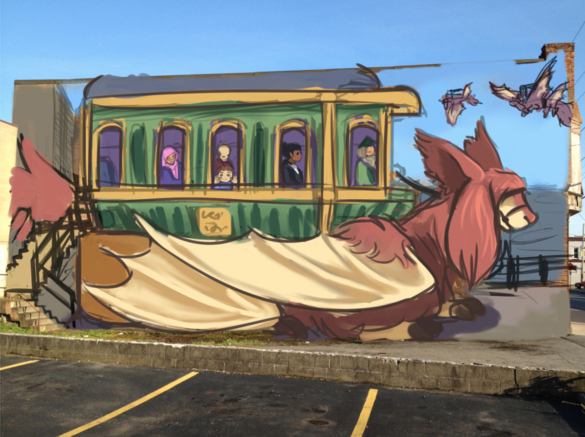 A mural of a train car being transported on a large animal.