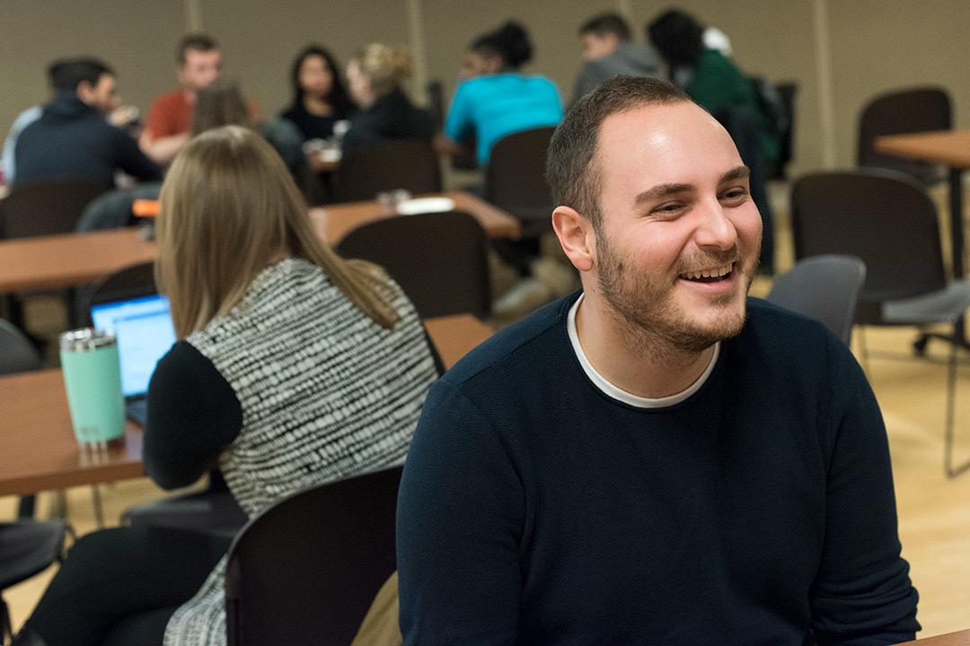 Male student wearing black shirt