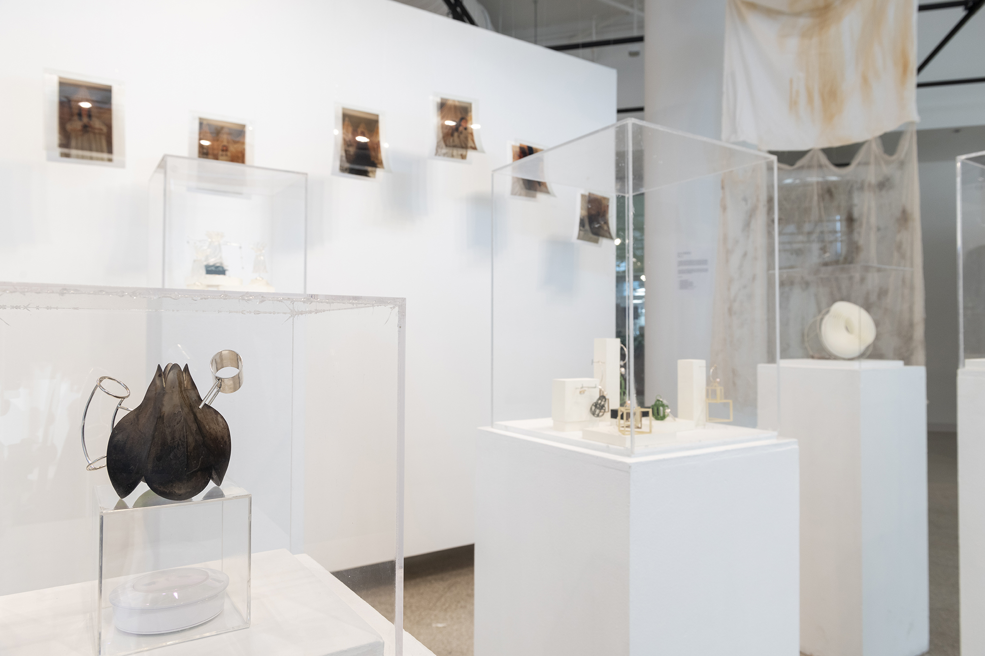 A photo of jewelry designs in display cases.