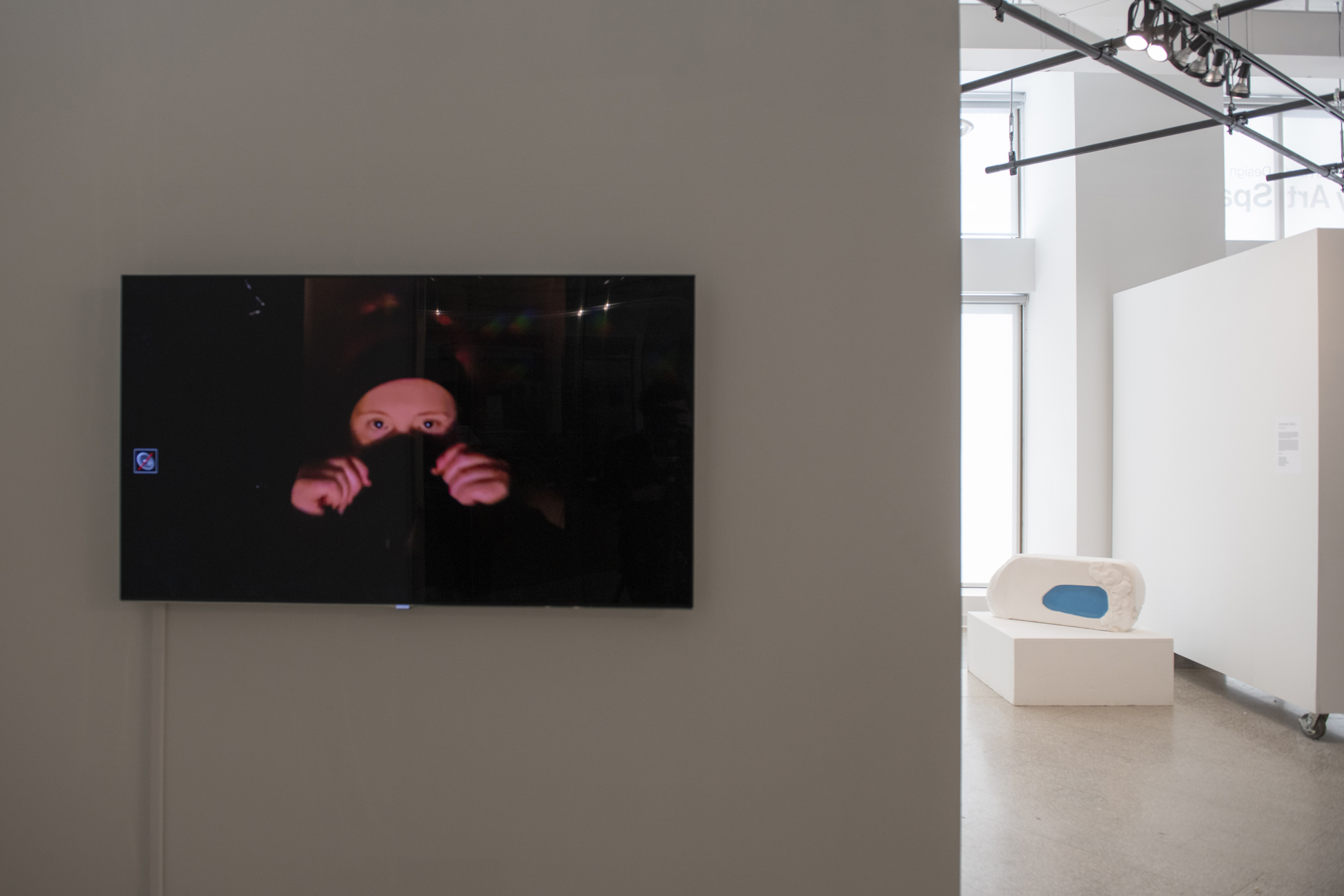 A video screen plays a video on a gallery wall.