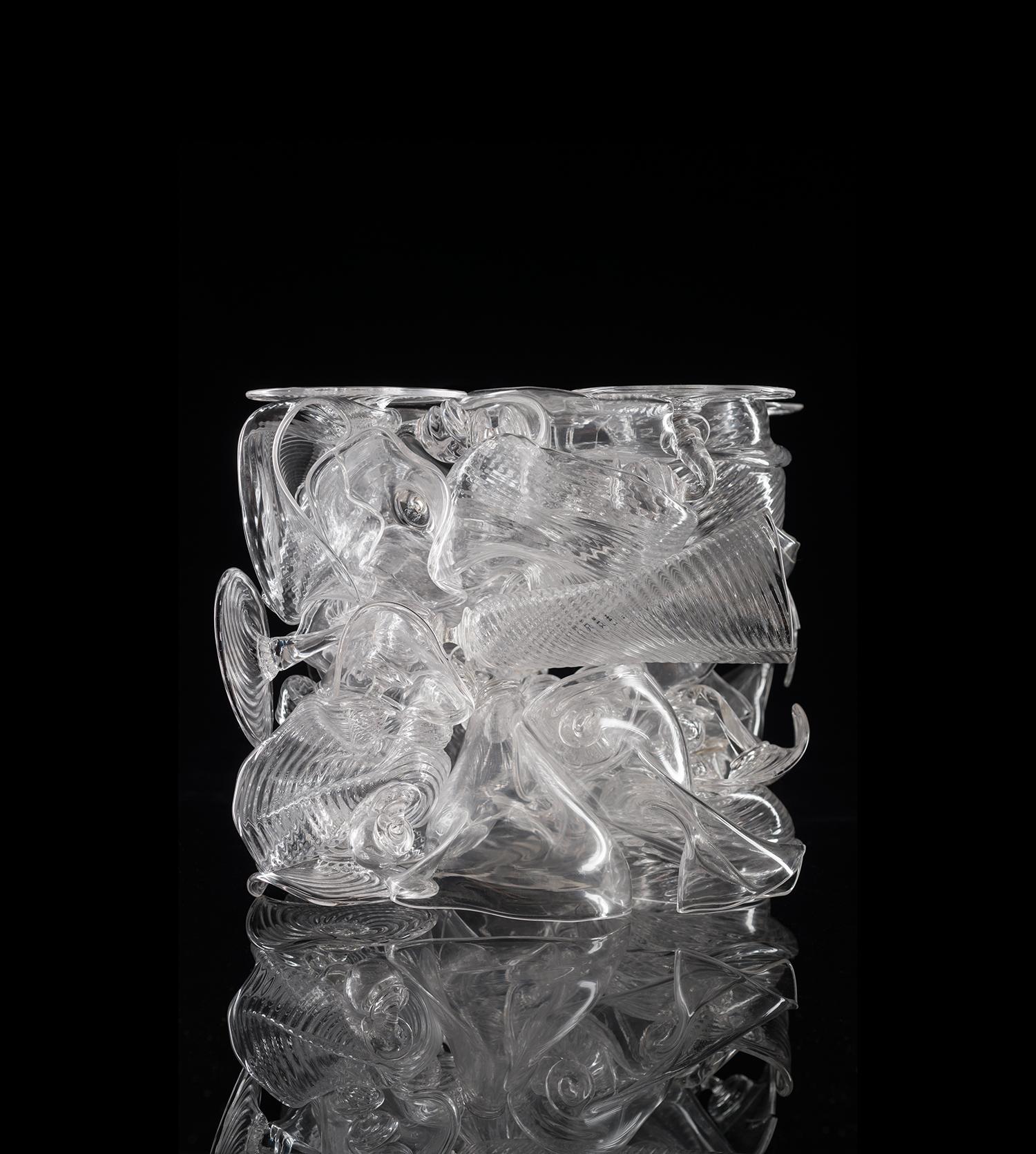 A small but intricate glass sculpture