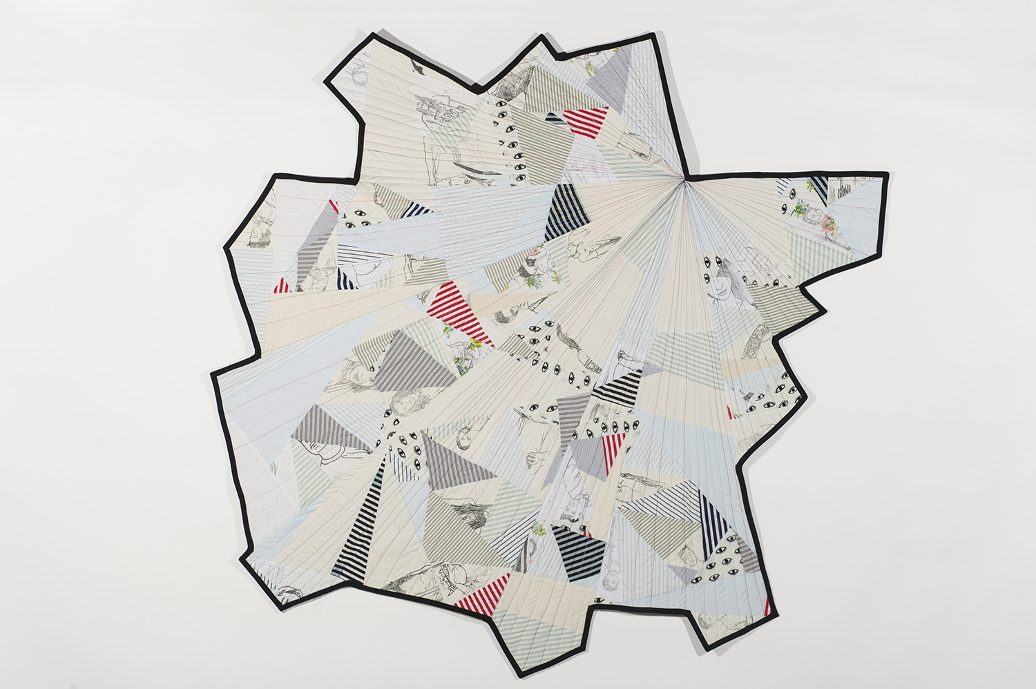 An asymmetric quilt with abstract pattern