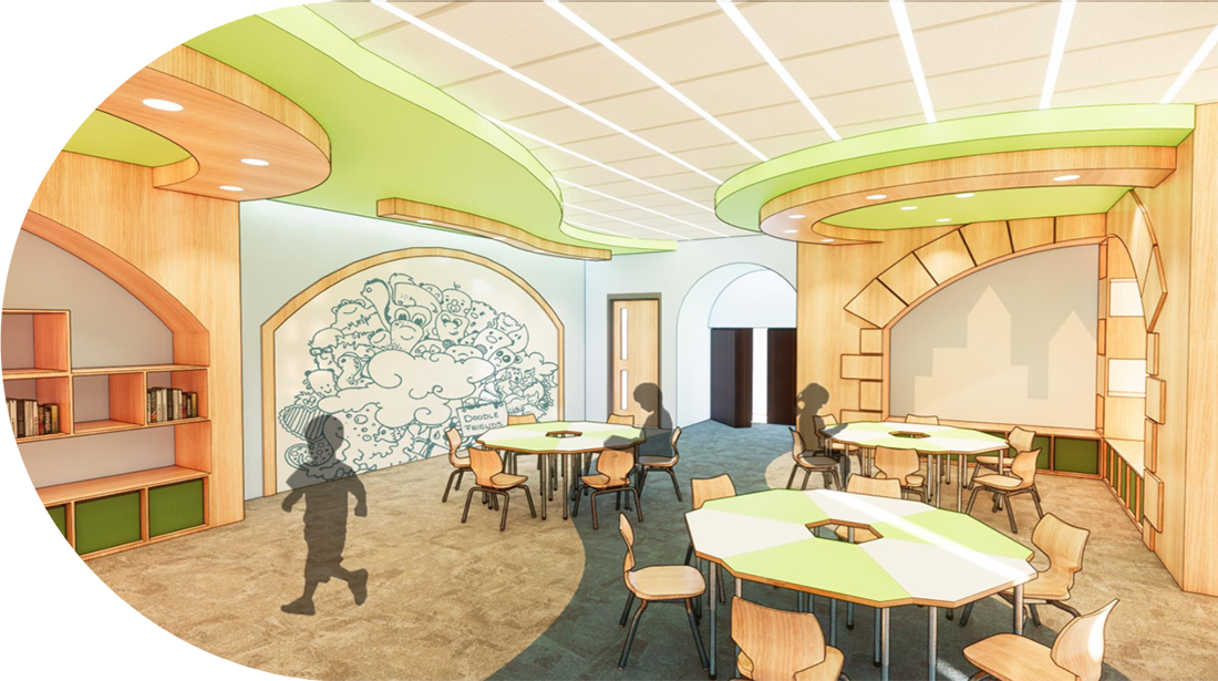 A rendering of a classroom setting within the Secret Room.