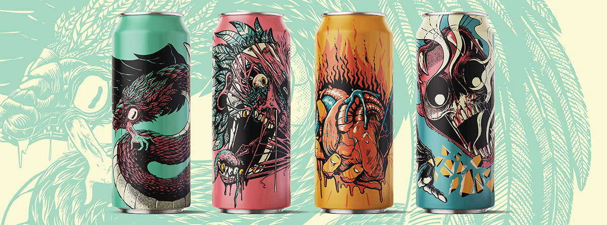 Four beer can designs inspired by Aztec mythology.