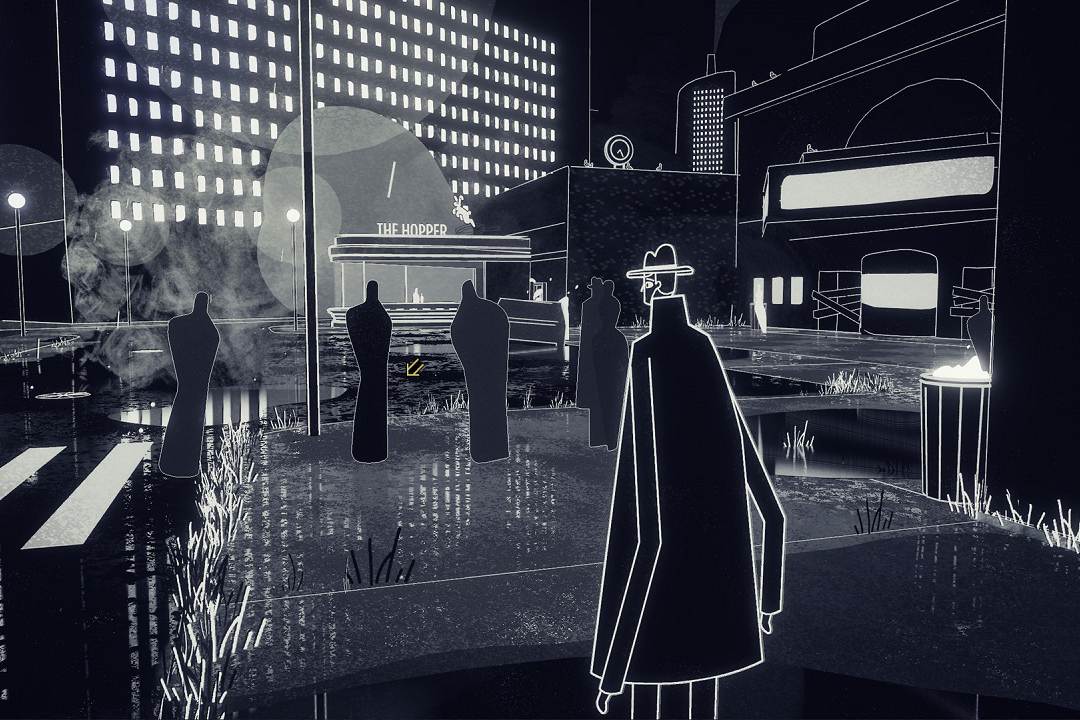 screenshot of black and white video game with five dark figures in a parking lot.