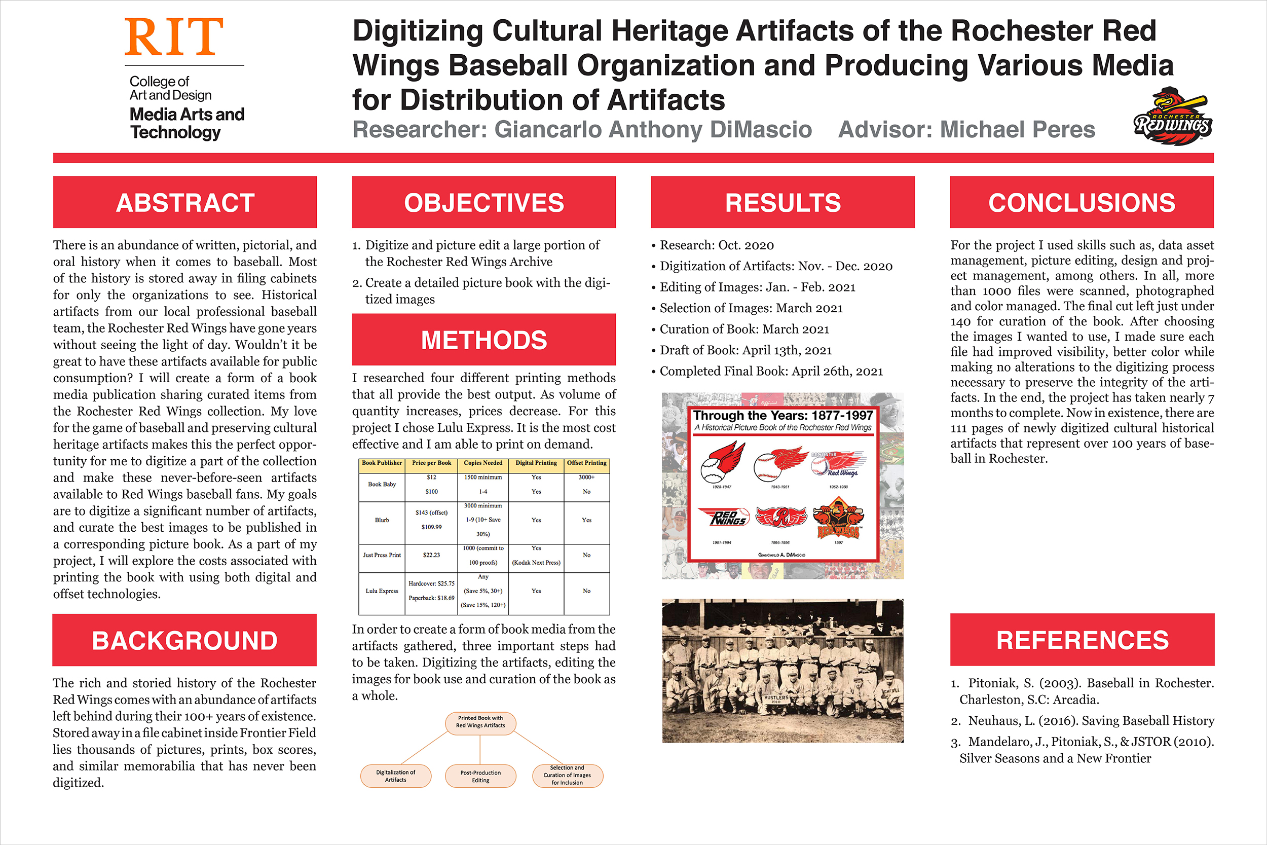 A poster detailing a plan to digitize cultural artifacts of the Rochester Red Wings baseball team.