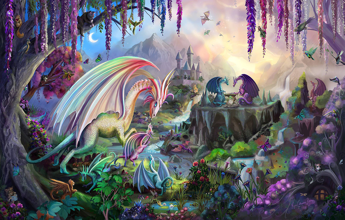 An illustration of a pack of dragons in a mythical place.