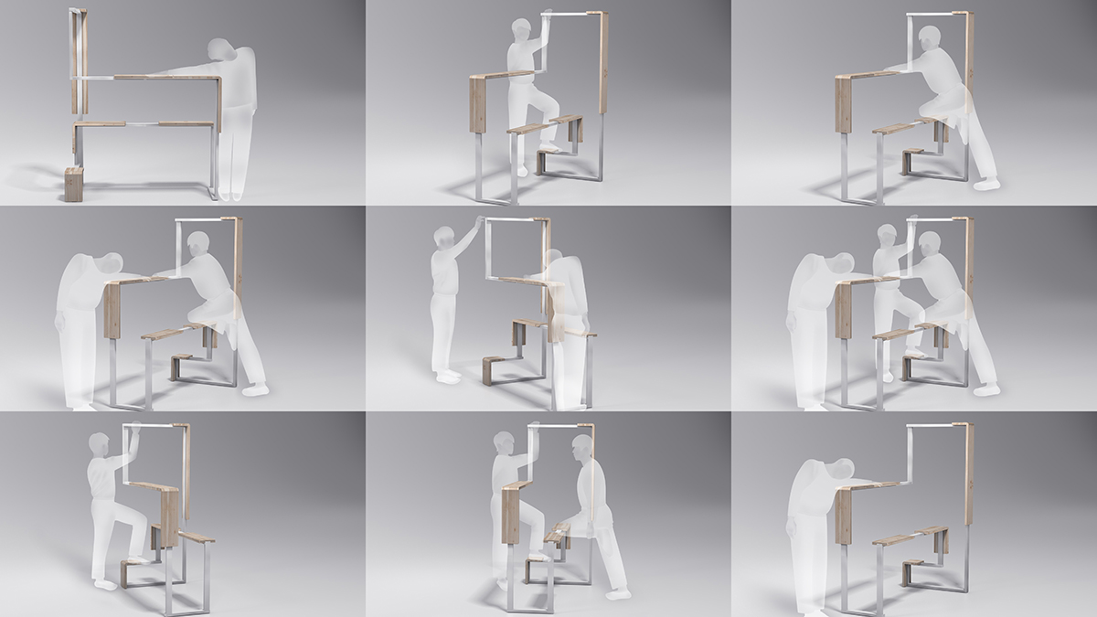A diagram of the many ways the Office Stretcher can be used