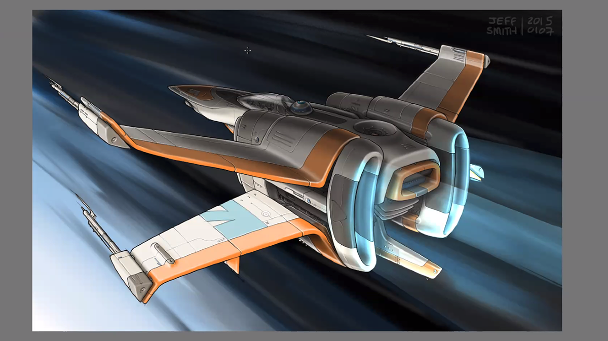A rendering of a space craft.