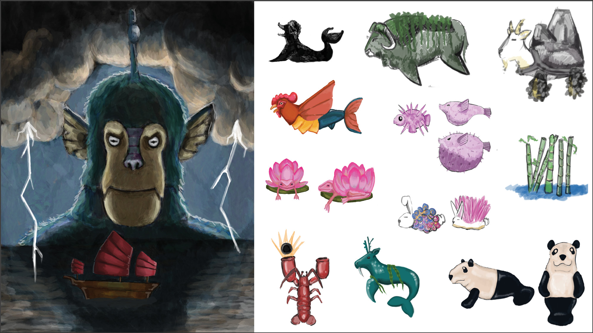 A collage of character designs by Julie Toich.