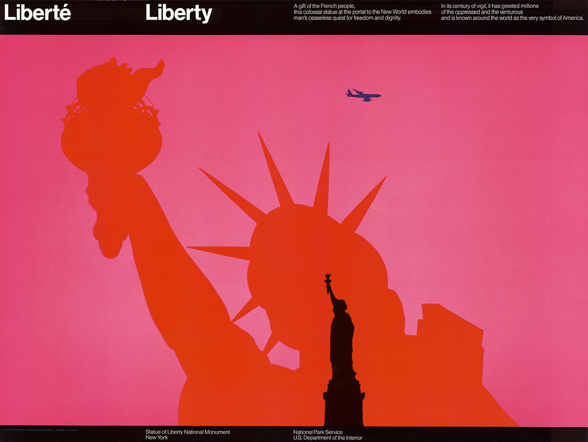An old poster of the Statue of Liberty National Monument.