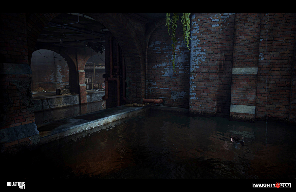 """A dark scene in a sewer for the game """"The Last of Us Part II."""""""