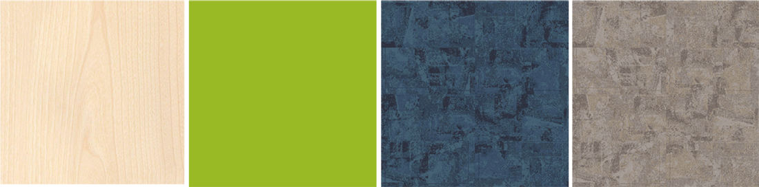 A photo highlighting four materials selected for the redesign: birchwood, electric lime wall paint and blue and tan carpet.
